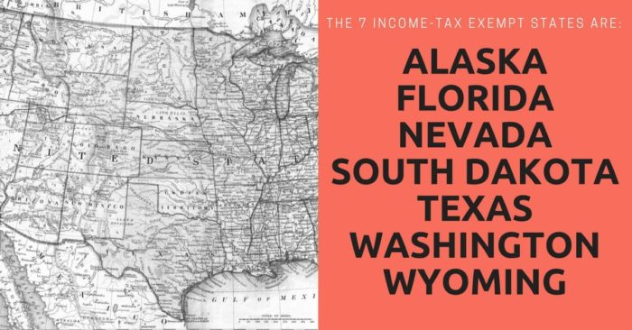 A map of the United States of America showing the seven income-tax exempt states: Alaska, Florida, Nevada, South Dakota, Texas, Washington, and Wyoming.