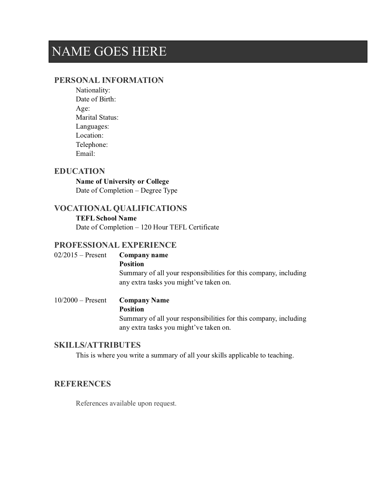sample teaching resume CV