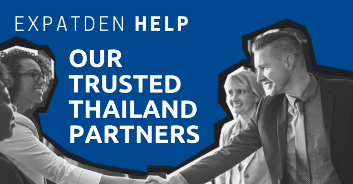 Two people shaking hands with the title, ExpatDen: Our Trusted Thailand Partners