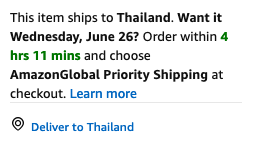 A description of a package being sent to Thailand.