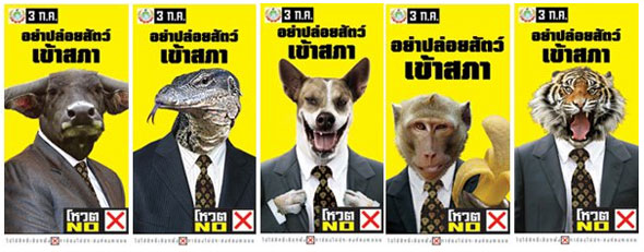 Vote NO! Animal Campaign: Political Posters Translated