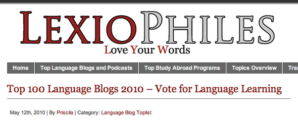 Top 100 Language Learning Blogs 2010