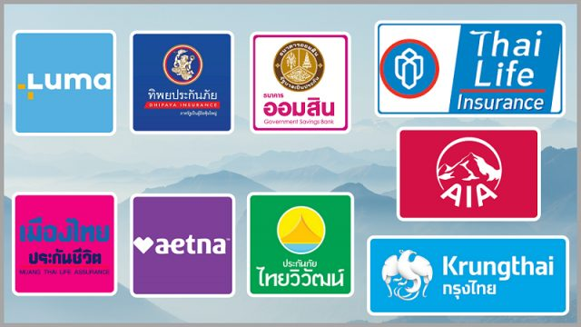 A graphic of Thailand insurance company logos.