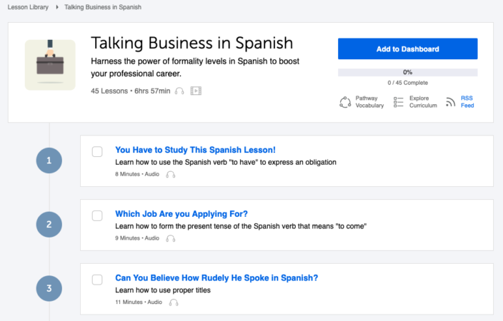 business in Spanish lessons from SpanishPod101