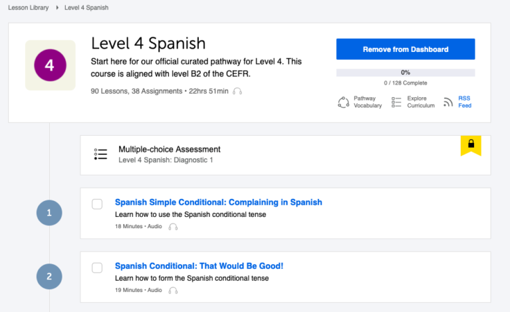 Spanishpod101 level 4 Spanish official pathway.