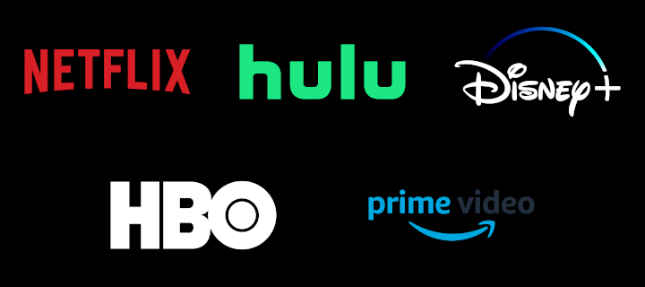 Logos of Netflix, Hulu, Disney+, HBO, and Prime Video